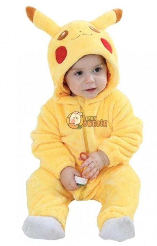 baby in a pickachu halloween costume