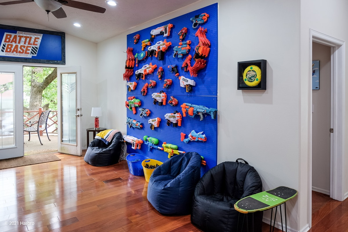 The Vrbo NERF Lake House has tons of Super Soakers and Blasters toys you can play with.