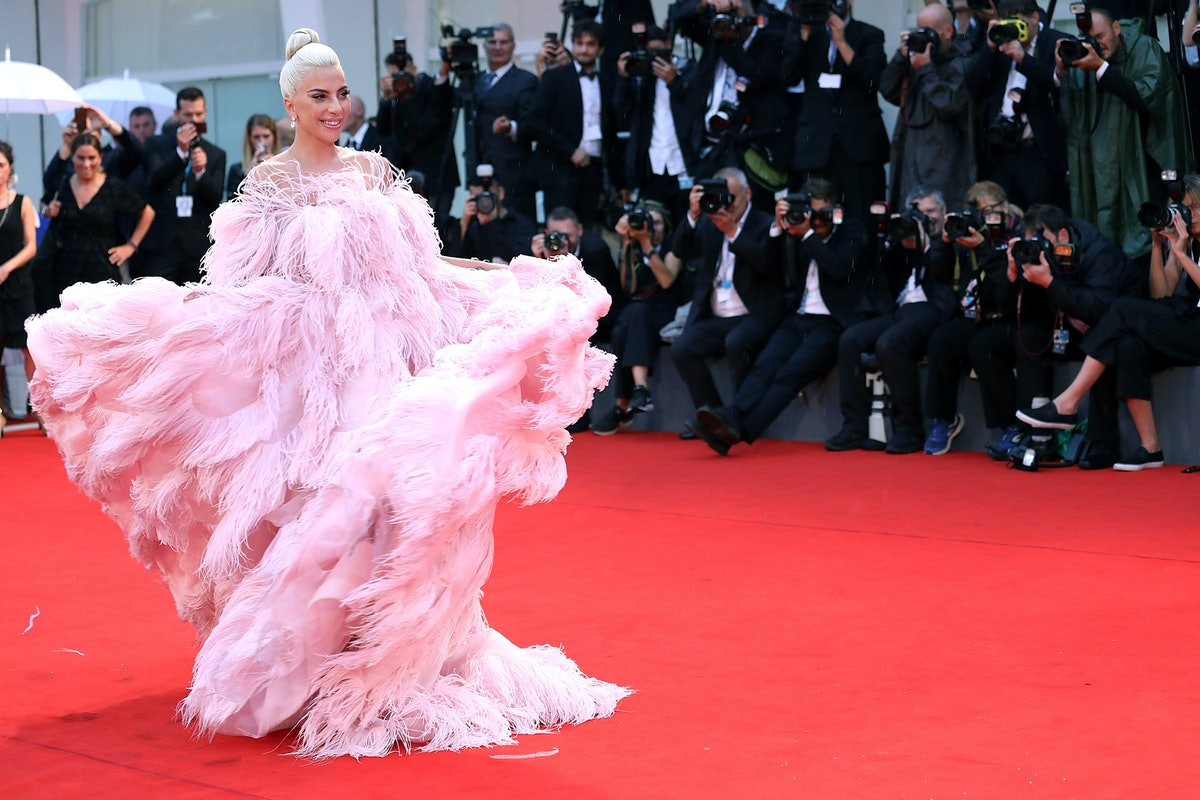 Lady Gaga in pink Valentino gown.