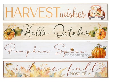 """Image of four autumnal themed signs to hang in the home, with sayings like, """"Hello October."""""""