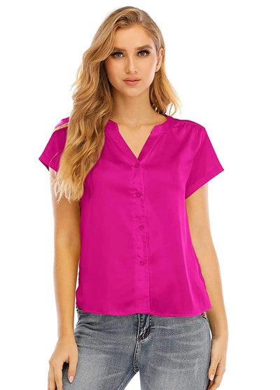 This hot pink silk button down blouse is a top to wear for a Kelly Kapoor Halloween costume.