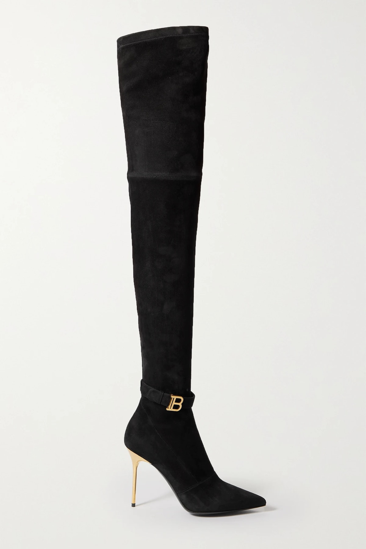 Balmain's black suede over-the-knee boots.