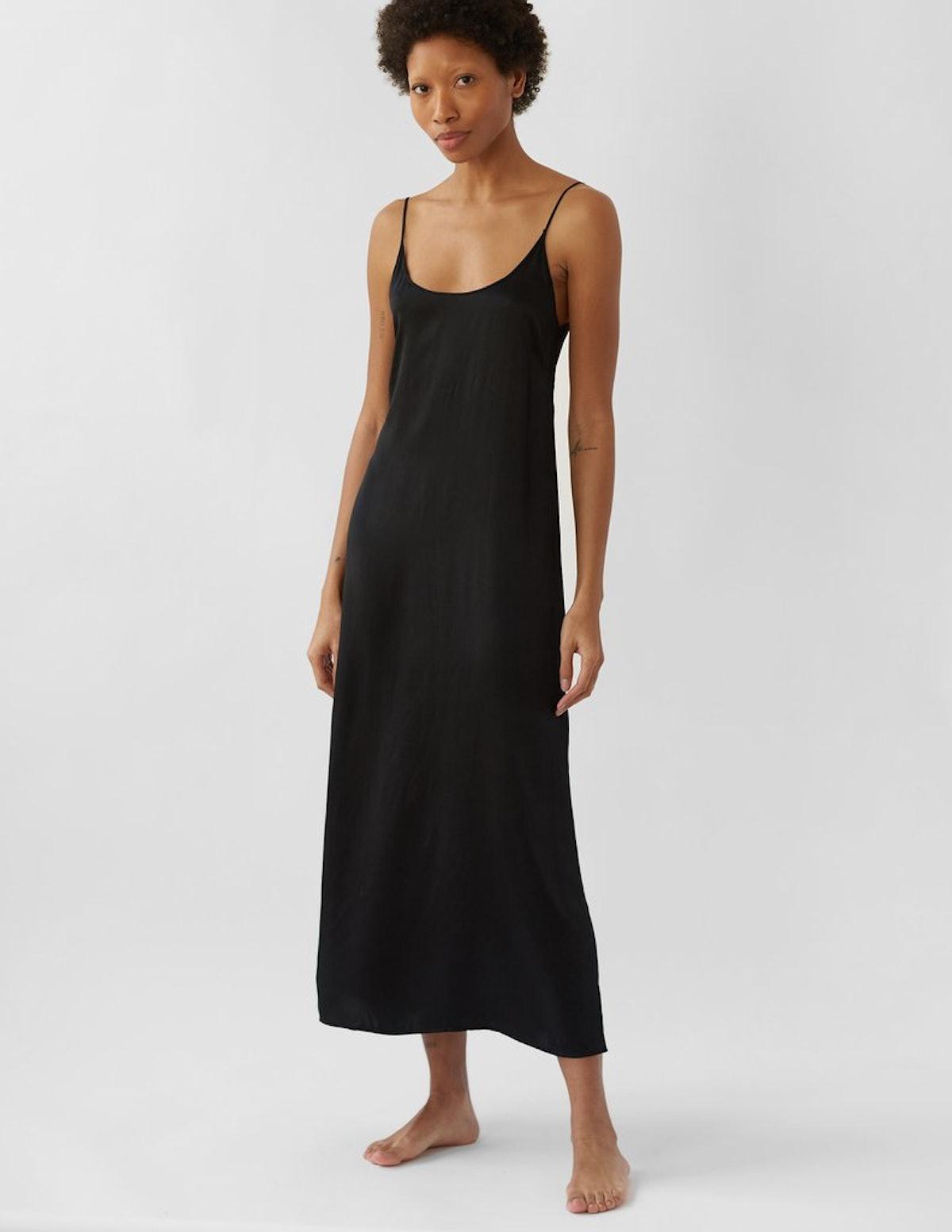 Black Quies slip dress from Araks.