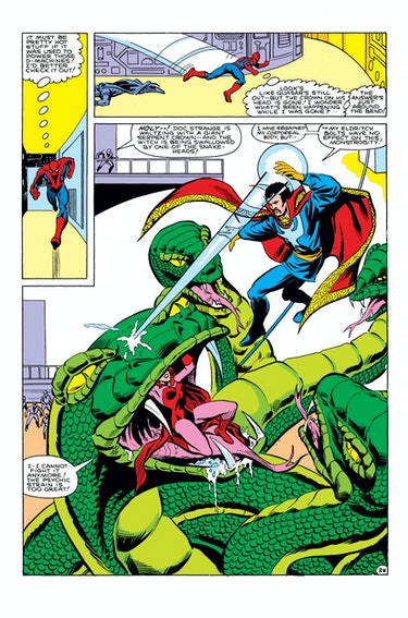 Spider-Man and Doctor Strange fight the demon Set in 'Annual #5' by Mark Gruenwald - Marvel Comics