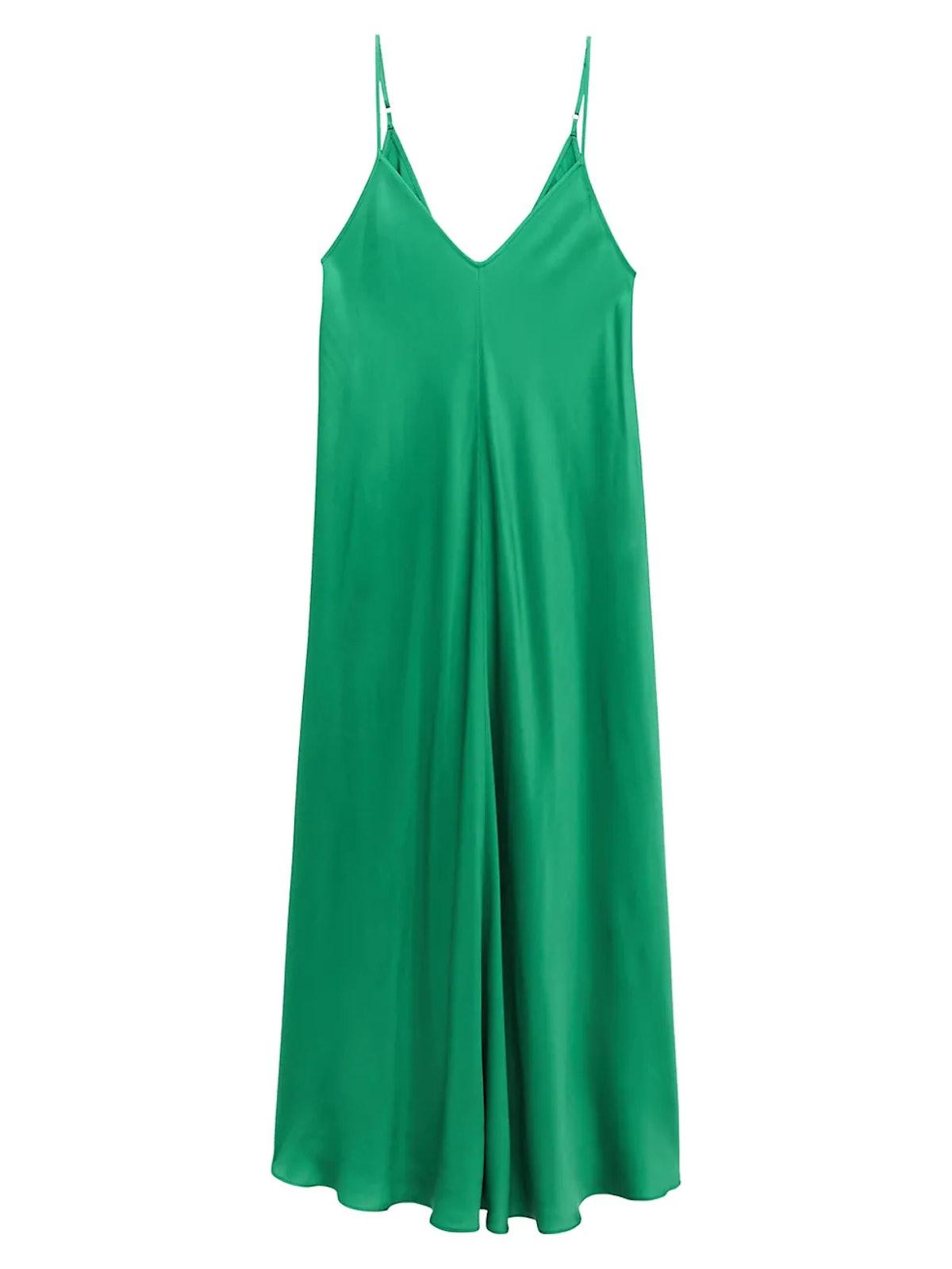 L'AGENCE Lorraine slip midi dress in amazon green.