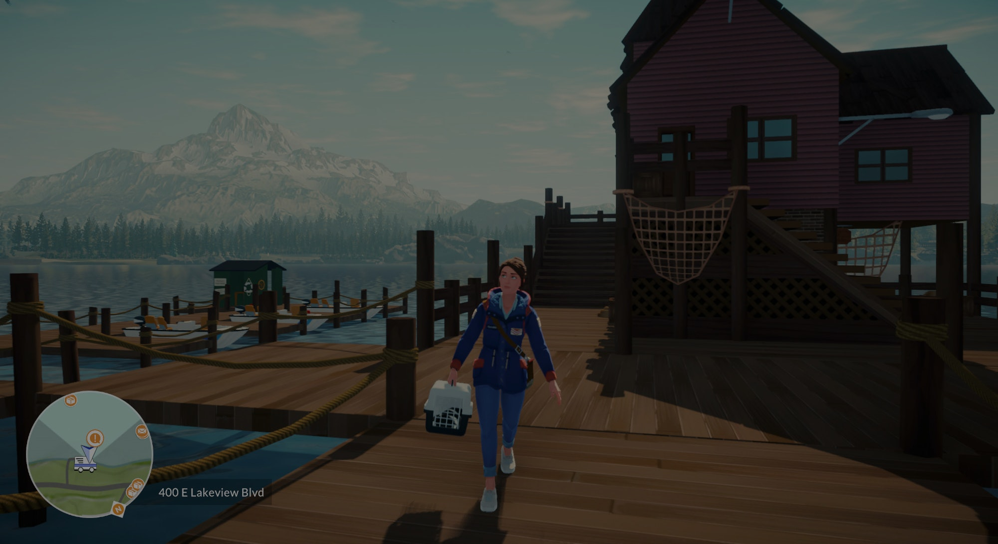screenshot of woman with cat carrier on dock from Lake video game