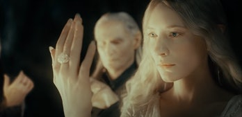 Cate Blanchett as Galadriel in the opening prologue of Lord of the Rings: Fellowship of the Ring