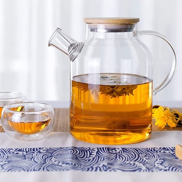 CnGlass Heat Resistant Borosilicate Glass Teapot With Bamboo Lid (2 Pieces)