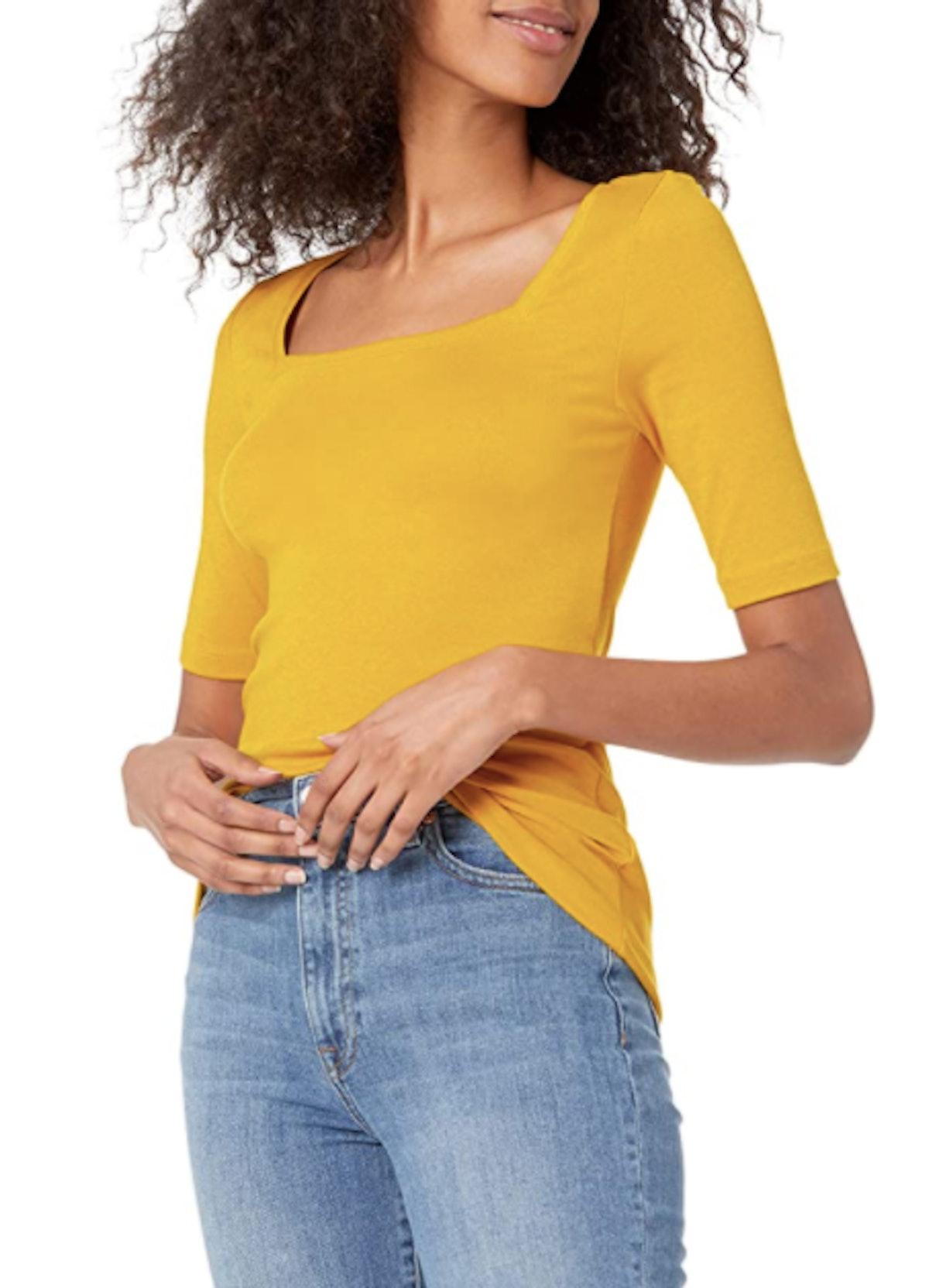 Amazon Essentials Slim Fit Half Sleeve Square Neck T-Shirt