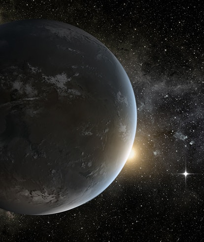 An illustration of a rocky, almost Earth-sized planet with its sun in the background