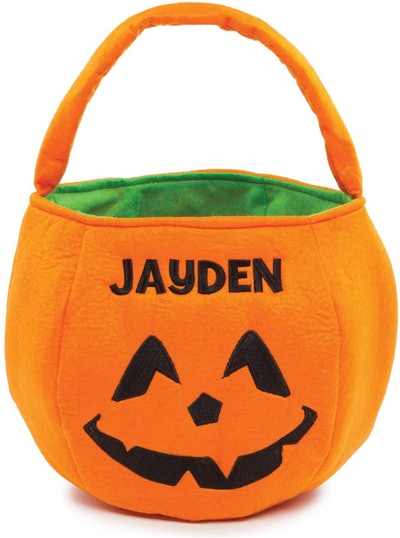 Halloween Orange Pumpkin Personalized Trick Or Treat Bucket Bag With Collapsible Handle
