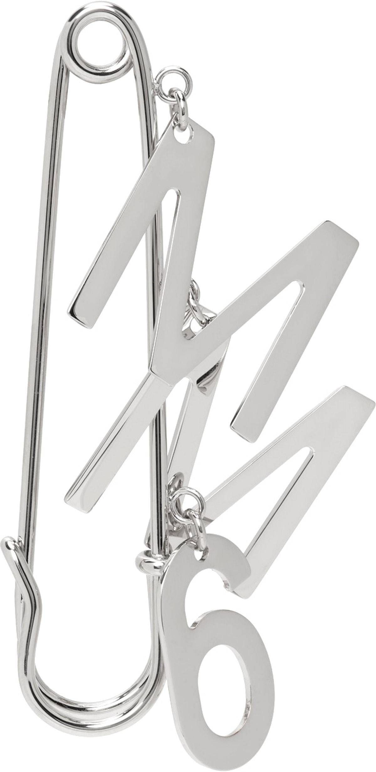 Silver Logo Brooch Single Earring from MM6 Maison Margiela.
