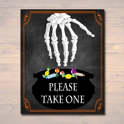 please take one halloween sign- faux chalkboard background and skeleton hand