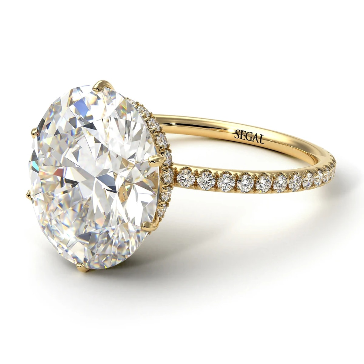 SEGAL Jewelry's hidden halo oval diamond engagement ring.