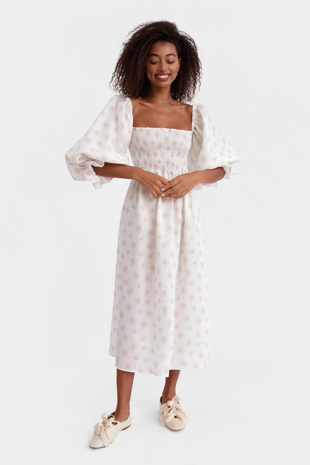 Atlanta Linen Dress in Daisies