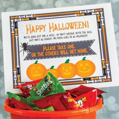 please take one halloween sign-, free printable with colorful jack o lanterns