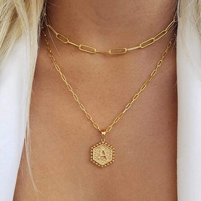 M MOOHAM Layered Initial Necklace