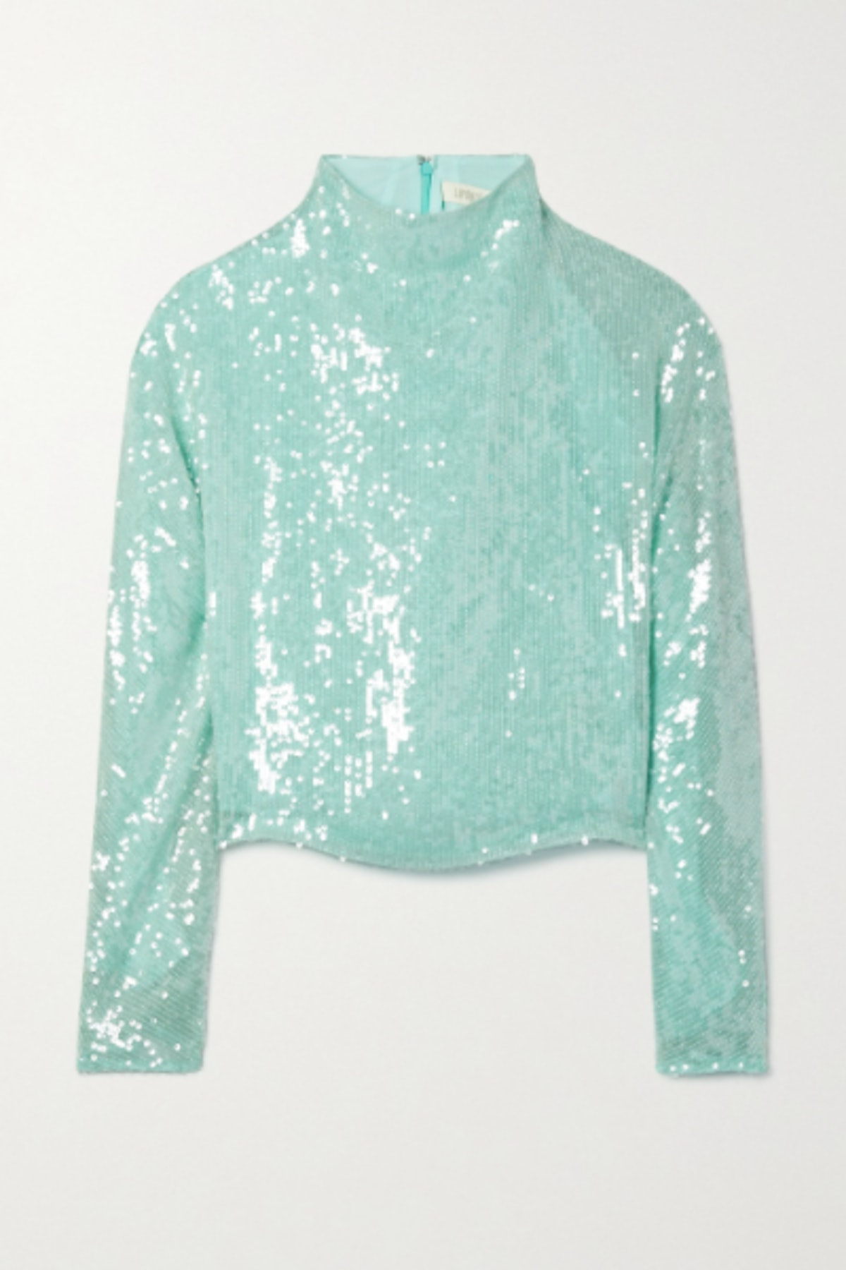 Draped sequined organza top