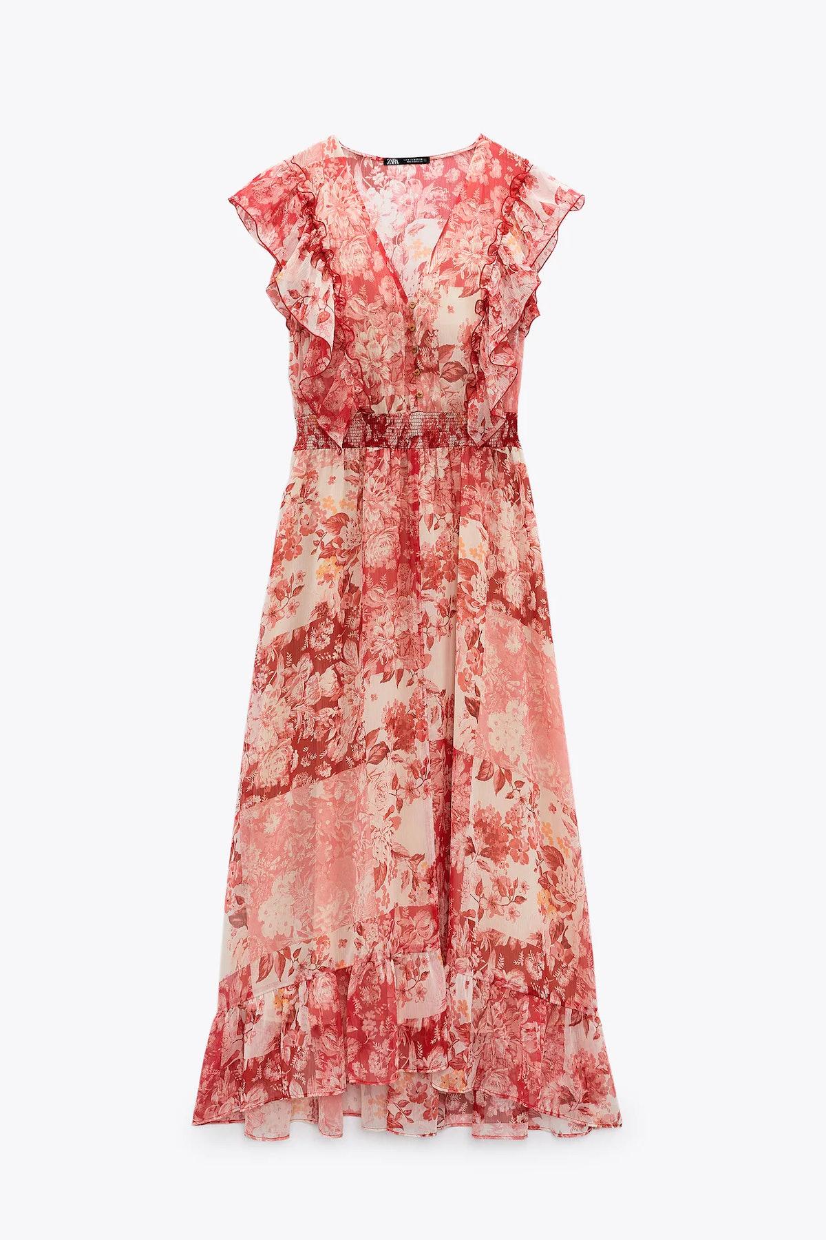 Zara Ruffled Print Dress