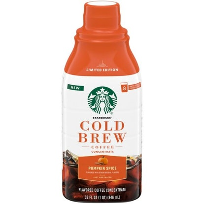 Starbucks' fall 2021 Pumpkin Spice At-Home coffee collection features a non-dairy creamer and a cold...