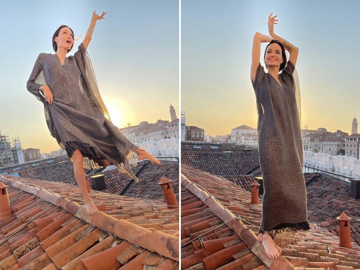 Angelina Jolie on a rooftop