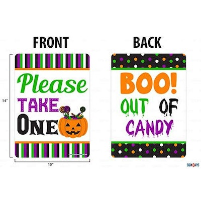 please take one halloween sign- double sided colorful sign