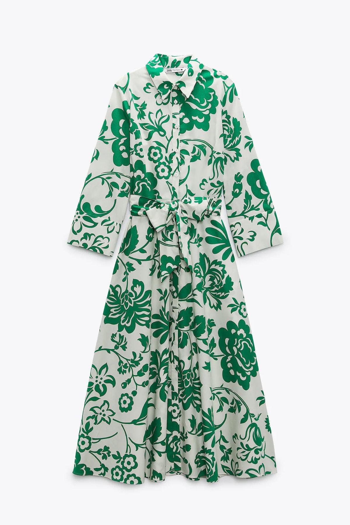 Zara Printed Poplin Shirt Dress