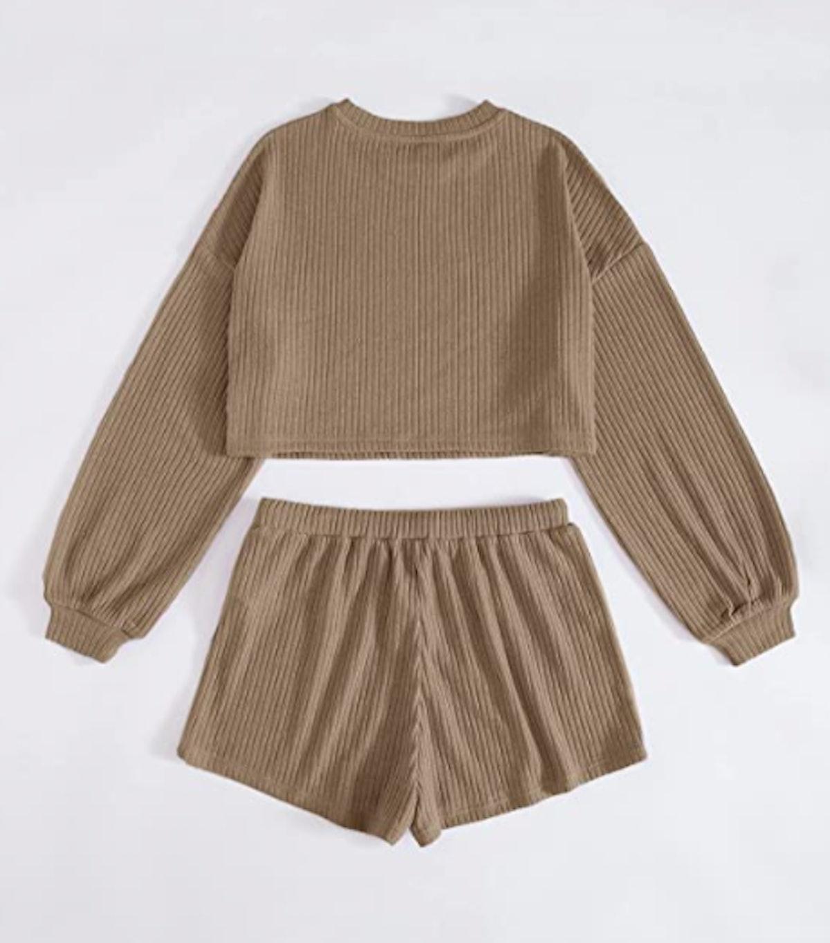 Verdusa Rib Knit Crop Top & Shorts Lounge Set