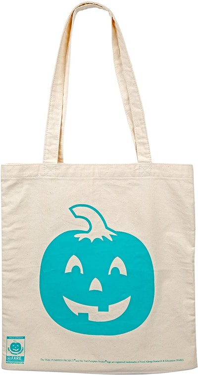 Teal Pumpkin Halloween Large Reusable Canvas Bag - 14' Trick Or Treat Candy Tote For Adults & Kids