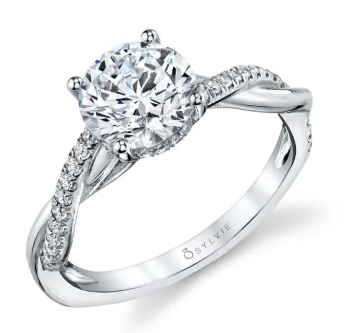 SYLVIE's Spiral Engagement Ring With A Hidden Halo.
