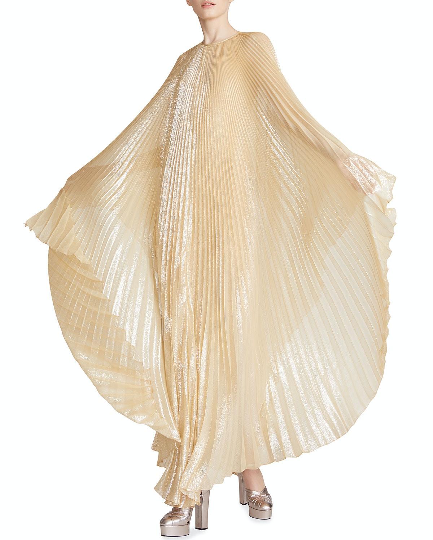 Liza Pleated Metallic Caftan Gown
