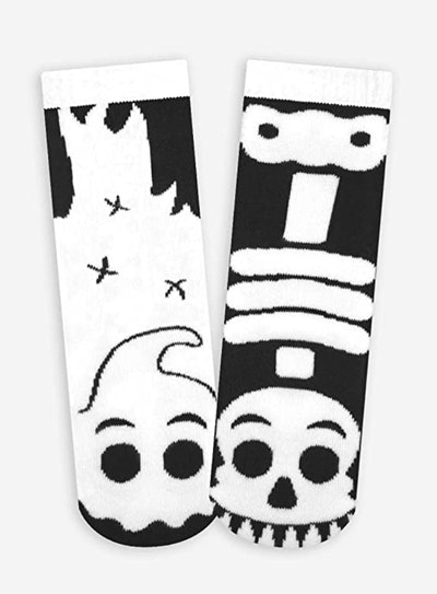 Ghost and Skeleton Kids Glow-in-the-Dark Mismatched Socks