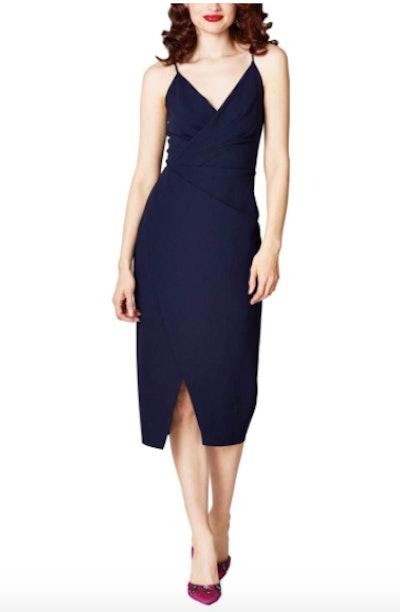 Betsey Johnson Scuba Crepe V-Neck Dress
