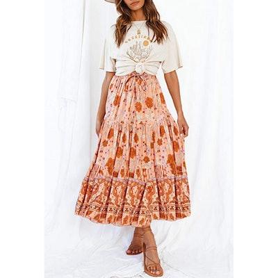 ZESICA Elastic Waist Maxi Skirt