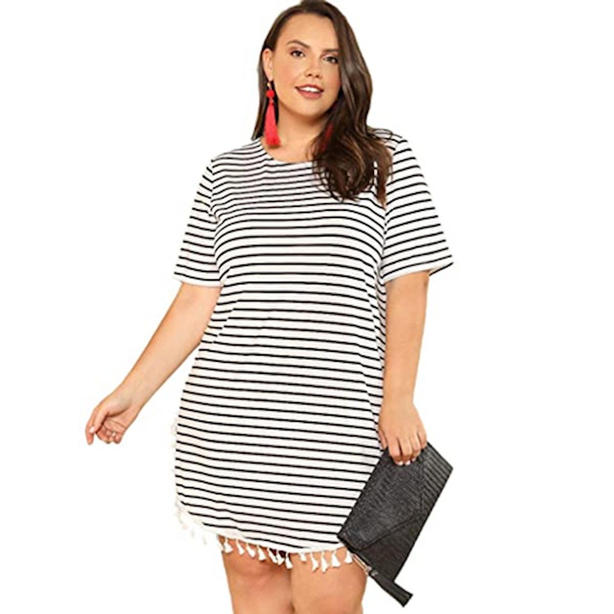 Floerns Plus-Size Striped Short Sleeve Dress