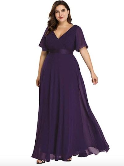 Ever-Pretty Plus Size Double V-Neck Maxi Dress