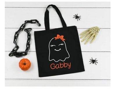 Ghost Personalized Halloween Treat Or Trick Candy Bag
