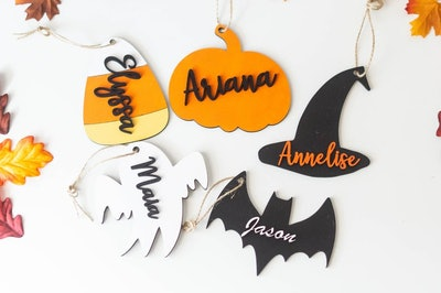 Halloween Basket Tags - Personalized Wooden Halloween Tags