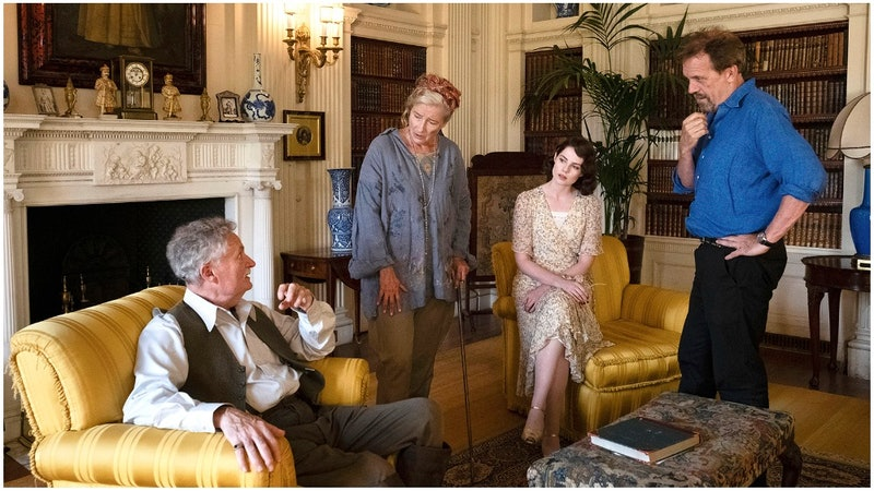 the stars of Why didn't they ask evans? Jim Broadbent, Emma Thomson, Lucy Boynton and Hugh Laurie ga...