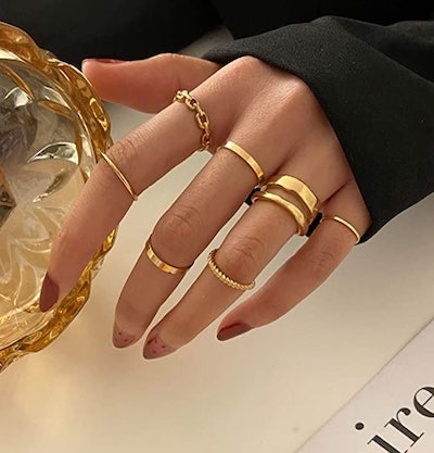 FAXHION Gold Knuckle Rings (Set of 7)