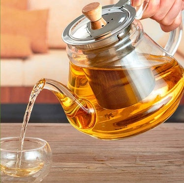 SUSTEAS Glass Teapot With Extra Double Wall Cups (6 Pieces)