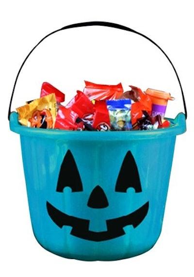 Teal Trick & Treat Pumpkin Bucket