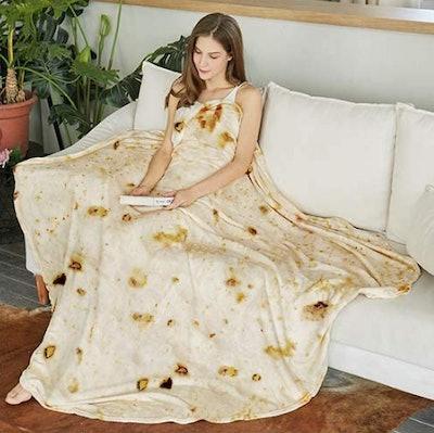 SeaRoomy Burritos Tortilla Throw Blanket