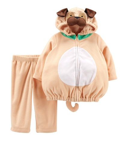 Image of a baby's two-piece pug halloween costume.