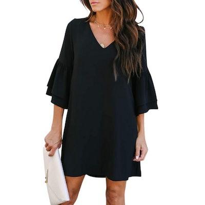 BELONGSCI Bell-Sleeve Shift Dress