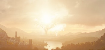 The Two Trees of Valinor as seen in the first image from Amazon's Lord of the Rings TV series