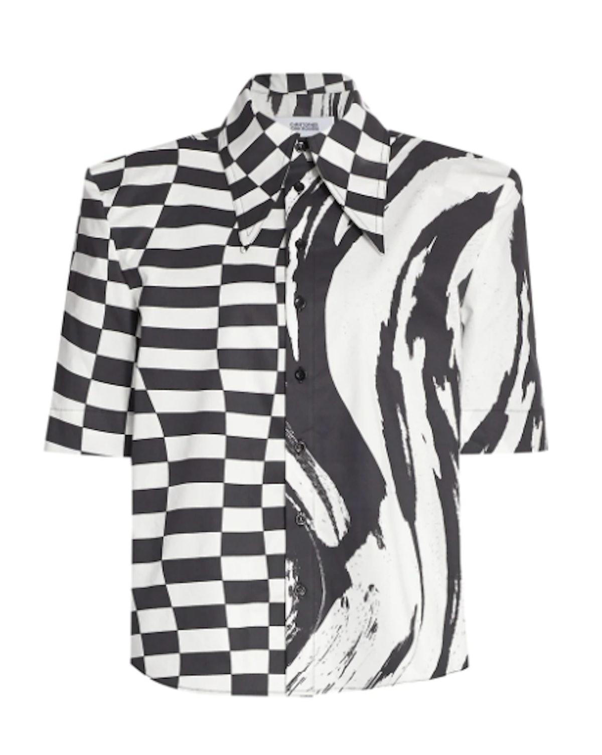 Padded Shoulder Short-Sleeve Shirt