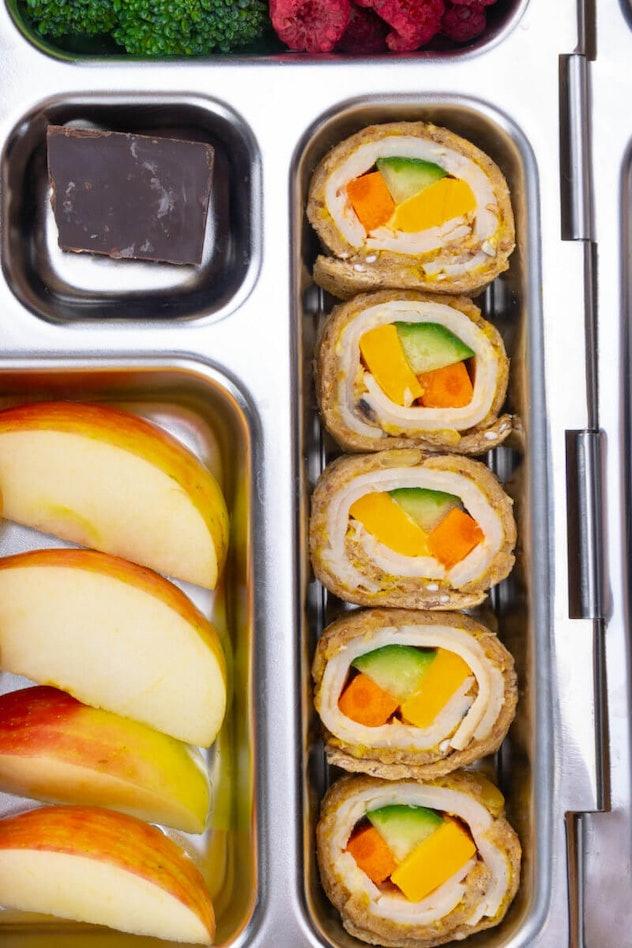 sandwich sushi roll in lunch box