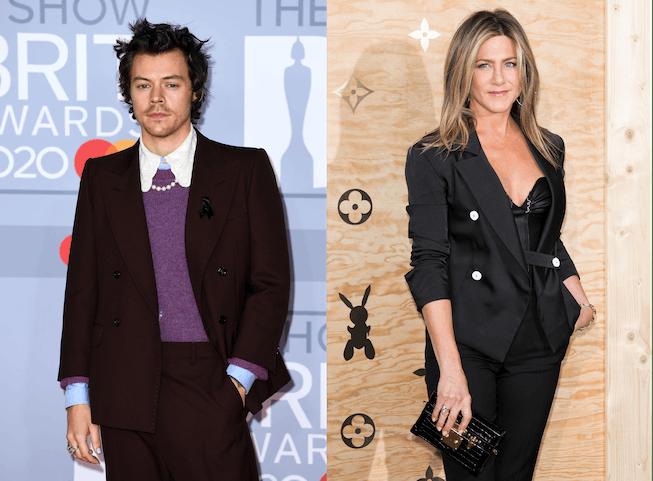 Harry Styles and Jennifer Aniston wearing matching outfits.