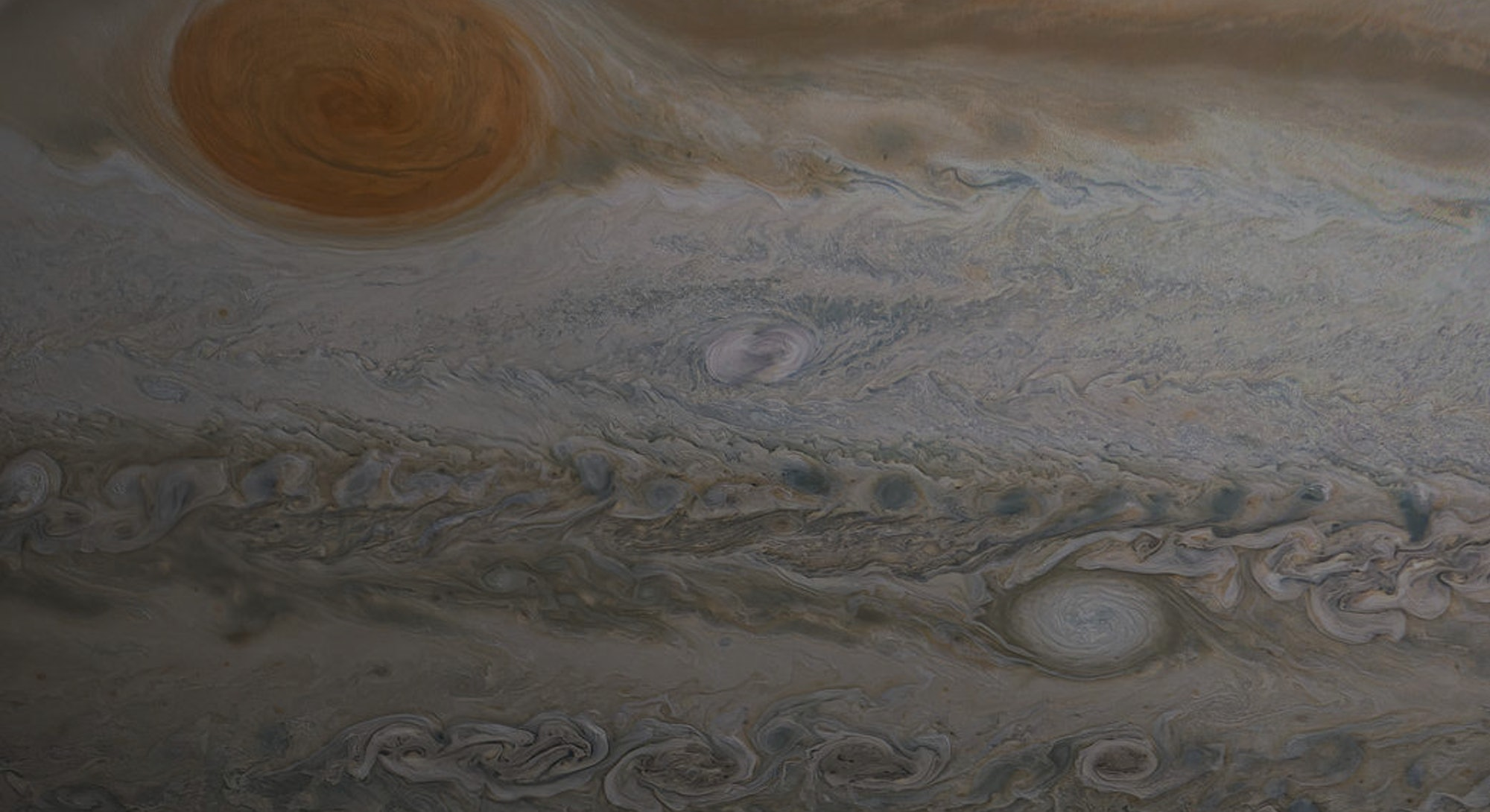 Jupiter's marbled appearance with its Red Spot in view